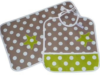 Placemat - APPLE STAR - (oilcloth) and bib Kit