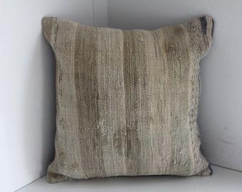 18x18 Kilim Pillow Light colors Turkish Kilim Pillow 18x18 kilim pillow cover 18x18 stripe kilim pillow cushion flat woven Turkish pillow 74
