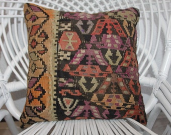 "16"" x 16""decorative pillows 16x16 vintage kilim pillow cover 16x16 bohemian pillow 16x16 kilim cushion cover 16x16 Turkish pillow 16x16 168"