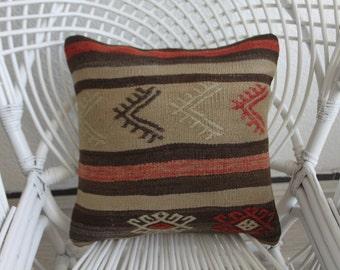 """Handwoven Turkish Kilim Pillow Cover,Kilim Cushion Cover 16"""" x 16"""" Homedecor Pillows Throw Pillows Accent Pillows Floor Cushion Cover 194"""