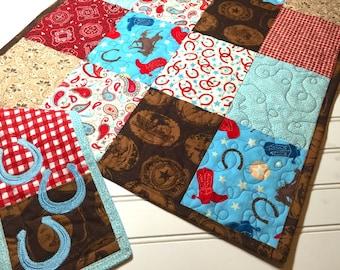 Western Baby Boy Changing Pad, Travel Changing pad, Cowboy Changing Mat, handmade, Western baby Quilt, Toddler Changing  mat, diaper pad