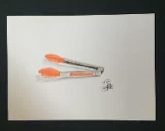 Drawing - Orange Tongs