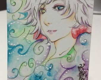 ACEO trading card catgirl Anime manga rare handmade