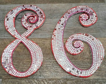 Mosaic Mirror House Numbers in your choice of colour! Funky and Unique, the Perfect Housewarming Gift! SOC20154