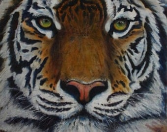 Bengal Tiger, Oil Painting, Hand Painted Tiger, Bengal Tiger Painting, Boho Painting, Animal Painting, Art Gift