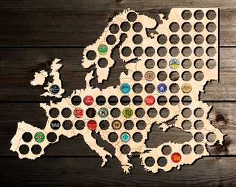 Beer Cap Map Europe Beer Cap Map. Beer Cap Display. Gift for Beer Aficionado Gift for Him. Father's Day Gift Chrismas Gift.