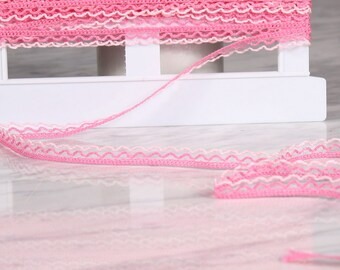 10 m of Ribbon 10mm, cotton, pink (9858)