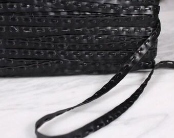 4 m of 8mm, polyurethane, black ribbon, (1195)