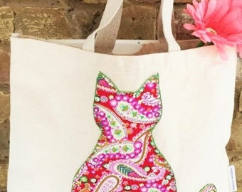 Lovely tote bag handmade with paisley pattern cat applique