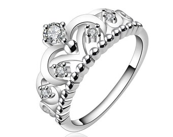 Princess Crown Ring in Silver Size 7