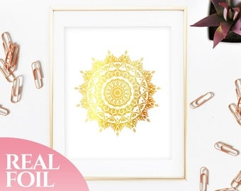 Mandala Gold Foil Print Real, Genuine, Home Decor, House, Office, Wall Art, Gallery, Wall Print, Poster, Living Room, Geometric, 5x7, 8x10