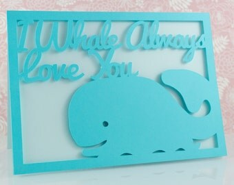 Pun Valentine's Card, I Whale Always Love You, Anniversary, Cute, Nerdy, Geeky, Funny, Quirky, Girlfriend, Boyfriend, Funny, Blue, Him, Her