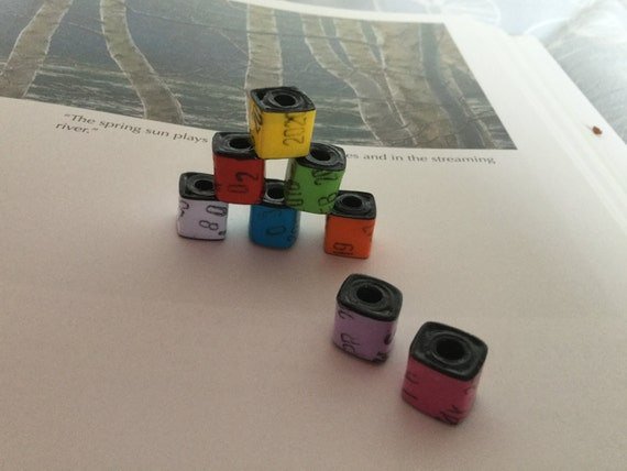 "Cube Paper Beads - ""Library Stamp"""
