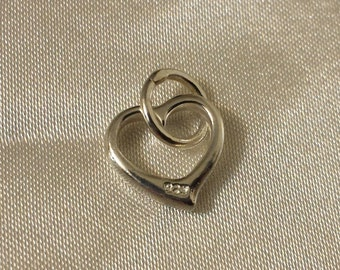 Heart Charm, sterling silver 13mm heart charm
