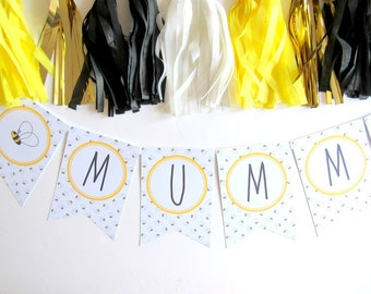 Mummy To Bee Bumble Bee Bunting | Baby Shower | First Birthday | Cake Smash | Christening | Baptism | Nursery Decor | New Baby Gift | Photo