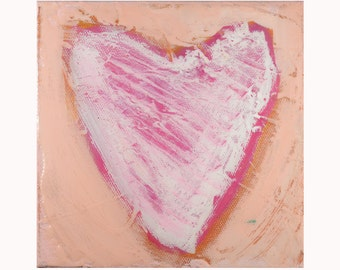 """Original Heart Painting 6""""x 6"""" acrylic on canvas with high gloss finish. Pink on pink."""
