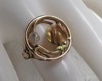 14k Art Nouveau Enamel Pearl Ring