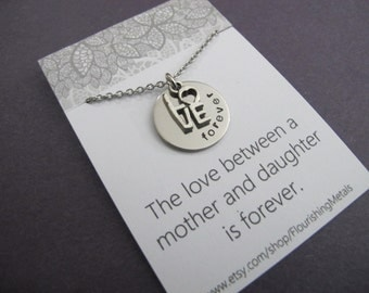 Mother Daughter Necklace, The love between a mother and daughter is forever, Mother necklace, daughter necklace, daughter gift, Graduation