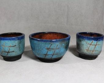 Raku Bowl with 2 cups Set of 3 pieces