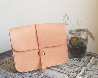 Flap Satchel Bag - Natural color