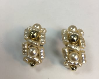 Vintage Pearl Clip On Earrings