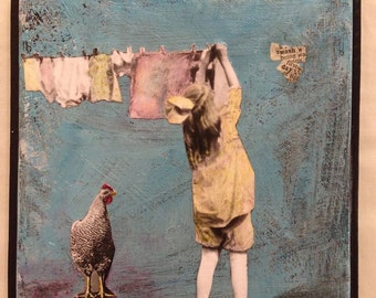 Art Mixed Media Collage Painting - Wash Day