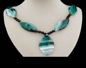 Botswana agate, Pearl, necklace, chain, necklace, silver plated