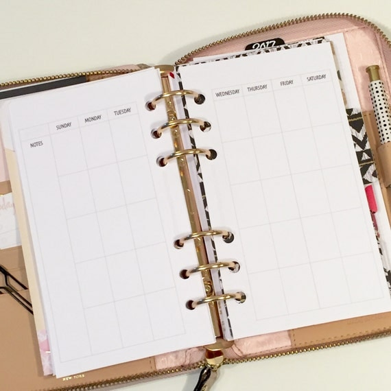 UNDATED Month On 2 Pages Printed Planner Inserts