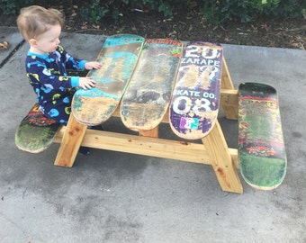 Kids skateboard table, skateboard picnic table, picnic table, custom, kids furniture, cool gift for kids, gift for skater, outdoor furniture