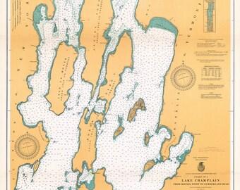 1920 Nautical Map of Lake Champlain New York