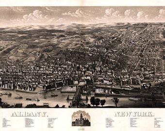1879 Panoramic Map of Albany New York