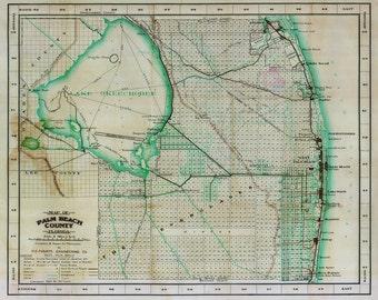 1923 Map of Palm Beach County Florida Lake Okeechobee
