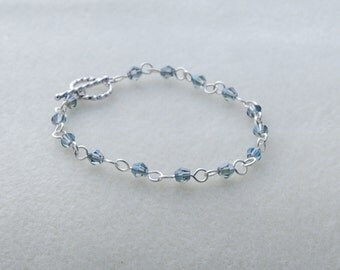 Silver and Blue Beaded Wire Wrapped Bracelet