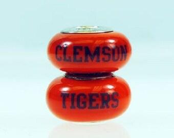 Clemson Tigers Glass Bead Fits European Style Bracelets