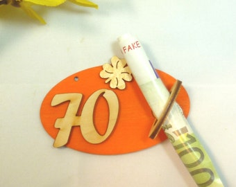 Banknote holder money gift to the 70th birthday original packaged, gift idea for banknote DIY