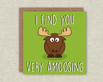 Funny Birthday Card, Cute Birthday Card, I Find You Very Amoosing, Pun Card, Pun Birthday Card, Card For Dad, Card For Mum, Love Card, Cute