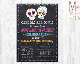 Sugar Skull Party Invitation,Sugar Skull Invitation,day of the Dead Invitation,Sugar Skull Birthday Invitation,fiesta invitation,fiesta card