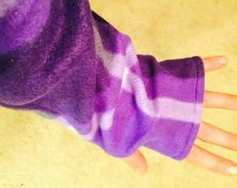 Purple Plaid Fleece Arm Warmer