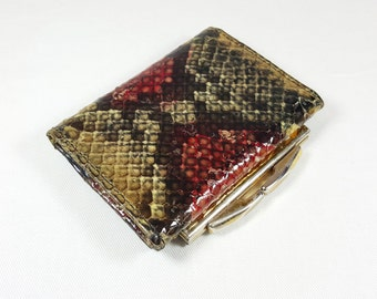 Gorgeous Vintage 1970's Genuine Python Multi-Color Wallet With Brass Clasp Made By Rosca With Black Leather Lining Billfold Part Has Pocket