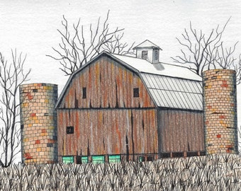Barn Pattern in Ink and Colored Pencil