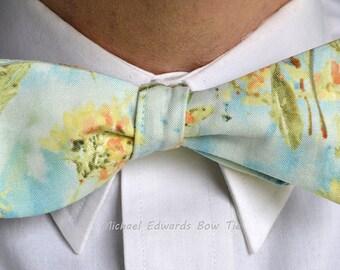 Blue Floral Bow Tie, Floral Bow Tie, Self Tie Bow Tie, Blue Bow Tie, Mens Bow Tie, Mens Bowties, Blue Bowties, Wedding Tie, floral bow ties