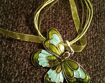 Green butterfly necklace free shipping