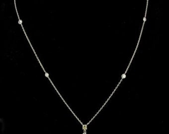 Pendant diamond its chain Diamond White Gold 18K modern
