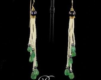 Earrings Emerald beads yellow gold 18K modern
