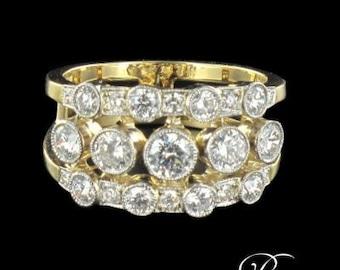 Ring apron diamond 18K Yellow Gold Platinum modern
