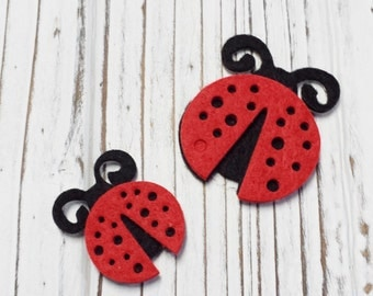 Lady Bug, Fabric Lady Bug Applique, Ladybugs, Arts and Craft Supplies, Sticky Back - 6 Pcs