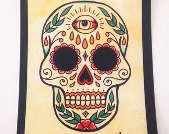 Tattoo Flash Art Print Sugar Skull