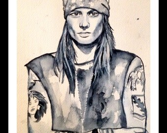 Axl Rose Watercolor Print