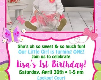 Butterfly Themed Birthday Invitation