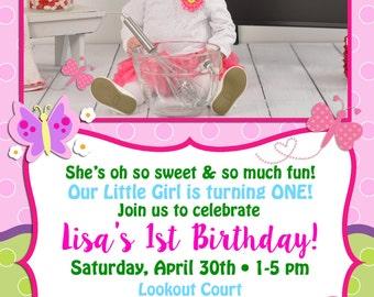 Butterfly Themed Birthday Invitation